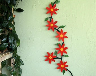 Large Metal Wall Art Flower Vine Sculpture Climbing Trailing Orange Flowers Clematis Kitchen Wall Art Indoor Outdoor Recycled Metal 22 x 42