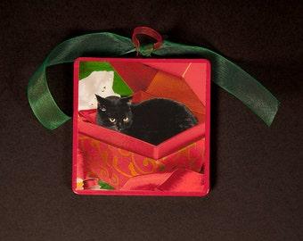 Black Cat Christmas Ornaments, Black Cat in A Box, Handmade, Wood Ornament, Stocking Stuffer, Coworker Gift