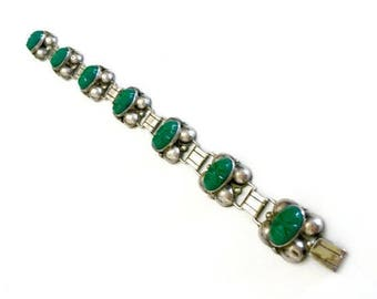 Los Ballesteros Sterling Silver Bracelet, Green Masks, Seven Links, Repousse Domes, Hallmarked, 1950s