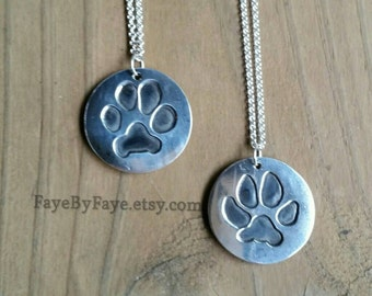 """Dog or Cat or any """"pet"""" Paw Print Custom Made - Sterling Silver"""