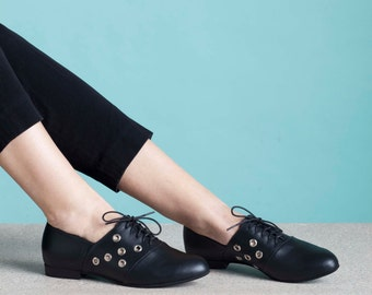 Shoes, Oxford Shoes, Lace Up Shoes, Flats, Women's Shoes, Oxfords, Tie Shoe, Leather Shoes, Handmade Shoe // Free Shipping