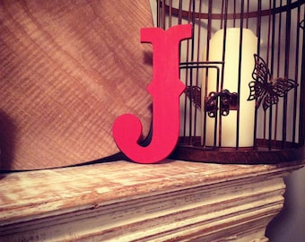 Hand-painted Wooden Letter J -  Wall Letters - Circus Font - Various sizes, finishes and colours