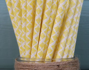 Yellow Damask Paper Straw (pack of 25)