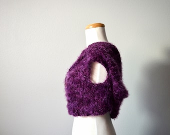 Hand Knit Furry Fuzzy Pixie Hoodie in Plum Purple Plus Orchid - Wildwood Knitted Vest with Goblin/Pixie Hood, Coconut Button - Hippie, Boho