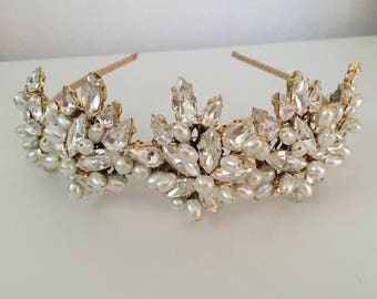 Bridal Headband - Vintage style Tiara - Bridal headpiece - Bridal tiara -  Bridal headband - wedding tiara - 1930s wedding dress
