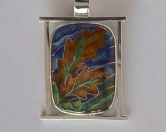 Oak leaves and acorns cloisonné enamel pendant