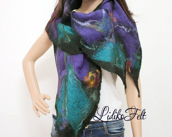 LAVENDER and BLACK GREEN Felted Boho Gypsy Wool Silk Scarf Shawl Wrap