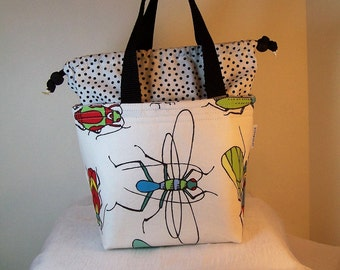 """4"""" by 7"""" Drawstring lunch bag, Cosmetic case, insulated lunchbox, fabric Lunch cooler, food tote Insulated Lunch Sack, Cosmetic bag"""