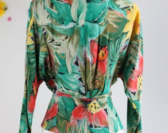 1980s Does 40s Blouse - Vintage Tropical Floral Print Blouse - Small/Medium - Peplum Waist - Long Sleeve - Button Up - Summer Spring