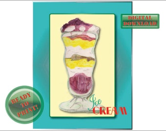 Retro Ice Cream Printable Sign Diner Rockabilly Sundae Wall Art Aqua Border Butter Yellow Background Red Green Font Whipped Cream Soda Glass