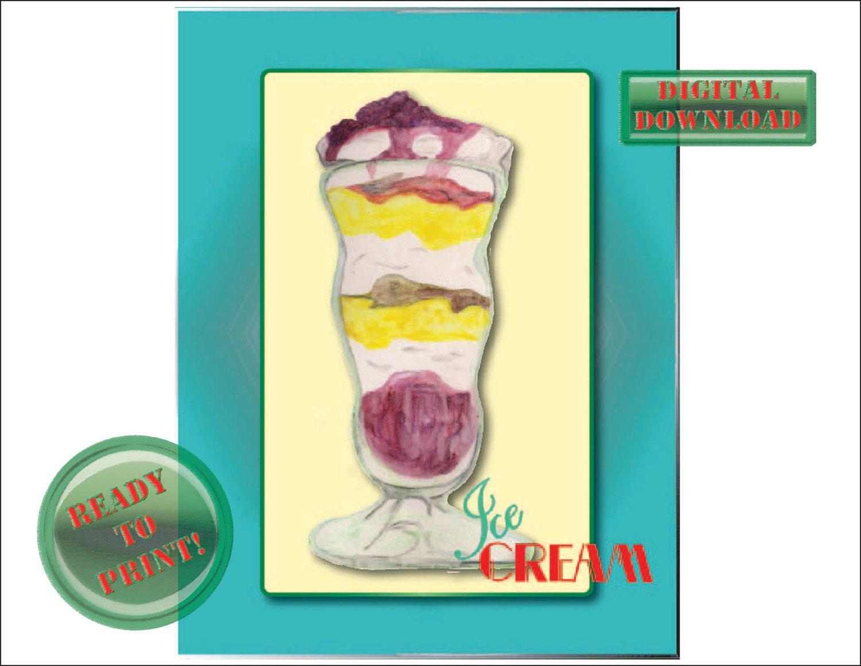Retro Ice Cream Printable Sign Diner Rockabilly Sundae Wall