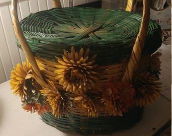 Vintage Hand-Made Handled Lidded Basket