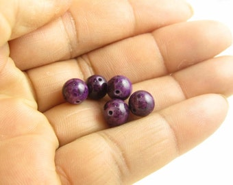 Bead Fossil, Fossil Beads, Violet Beads, 15pcs