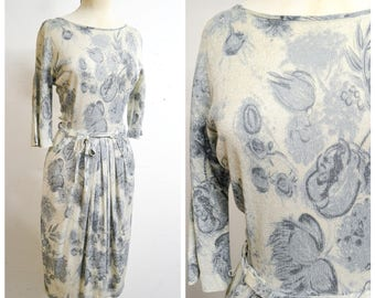1960s Silver rose print lurex cocktail dress / 60s Susan Small metallic evening dress - S
