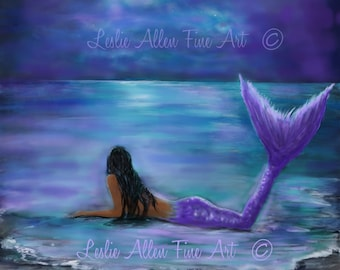 "Mermaid Art Print Mermaid Painting Print Mermaid Wall Art Decor Wall Hanging  ""MOON & STARS MERMAID"" Crescent Moon  "" Leslie Allen Fine Art"