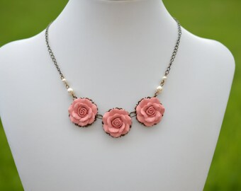 Trio Dusty Rose Centered Necklace. Dusty Rose Necklace. Rose Bip Necklace. Pastel Pink Rose Necklace.