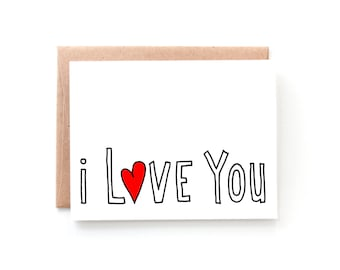Simple I Love You Card - Anniversary Card - Minimalist - Retro Inspired - Love Card