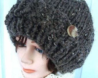 KNITTING PATTERN, Hat- slouchie hat, women, teens, girls, age 5 to adult, winter, accessories, clothing, num. 509, Knit flat
