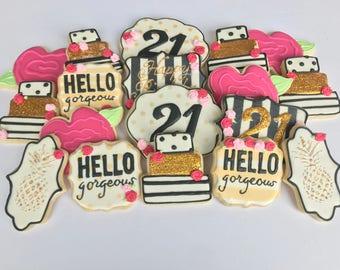 21st Birthday Cookies
