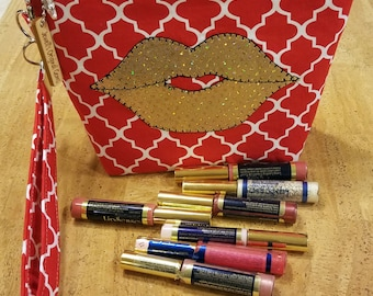 Distributors wrist-let  bag, purse, direct sales, LipSense,  red and white,  holds  21 lipsticks & additional supplies,  golden lips