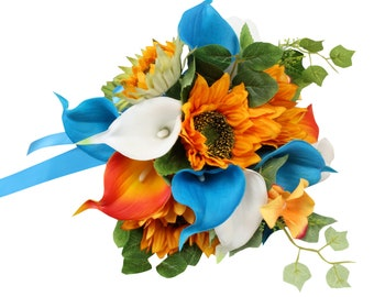 Bouquet & Matching boutonniere- Keepsake artificial sunflowers and calla lilies-Turquoise White orange prom dance sweet 16