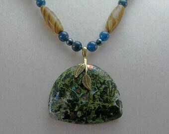 Tigerskin jasper, apatite, Swarovski crystal pearl and malachite with chrysocolla necklace: charity donation