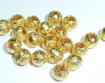 20 beads 4mm glitter gold metal