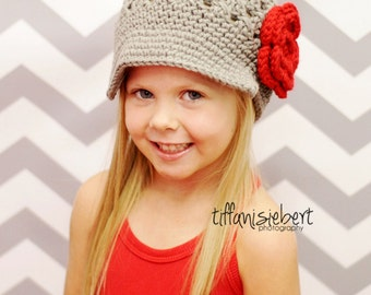 Available in All sizes Flower Newsgirl Newsboy Crocheted Hat in Gray Mist with a Large Red Flower and Hunter Green Leaf