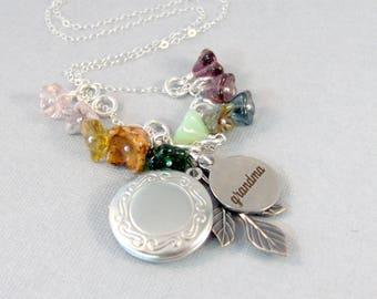 Wild Flowers For Grandma,Grandma Necklace,Jewelry for Grandma,Mothers Day,Grandma Locket,Mom Necklace,Grandmother,Flower Jewelry,Flower