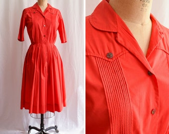 1950's Dress | Countrywise | Vintage 50s Shirtwaist Dress Bright Red Cotton Broadcloth PLAID Buttons Pointed Yoke 50s Day Dress Bust 38""
