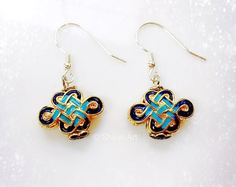 Artistic enamel earrings, Chinese knot design, gold and Prussian blue color, eastern lucky earrings,  Artisan Jewelry