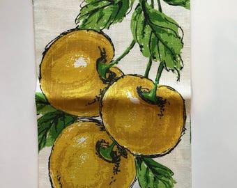 Vintage Mid Century Mod Retro Kitchen Parisian Prints Linen Tea Towel fruit