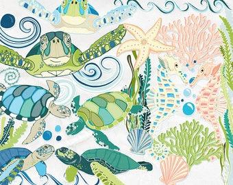Sea Turtle ClipArt, SeaHorse ClipArt, Ocean Animal Graphics, Under the Sea Printable PNG Download, Tropical Summer Vacation, Aquarium