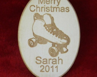 Personalized wooden christmas roller skate ornament tag