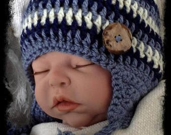 Crochet PATTERN- Crocheted Ear Flap Hat for Sizes 0-3 Month and 6-12 Month