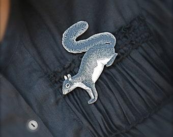 Woodland Squirrel Brooch - Squirrel Brooch - Squirrel Jewelry - Squirrel - Woodland - Animal Brooch - Black and White Print - Shrink Plastic