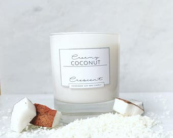 Coconut Scented Soy Wax Crescent Candle