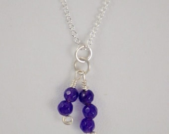 Purple Amethyst Gemstone Pendant on a Sterling Silver Chain Necklace