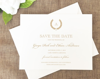 Gold Wreath Save the Dates, Monogram Save the Dates, Formal Monogrammed Save the Dates, Save the Dates, Classic Wedding Save the Date Cards