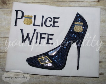 Police wife shirt -- wifey -- Back the blue -- I got his back -- Detectives wife -- thin blue line