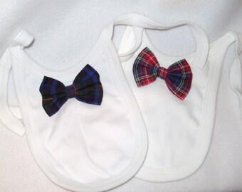 "2 x Tartan Bow Tie White Reborn Baby Doll Bib Feeding Accessory 14""-20"""