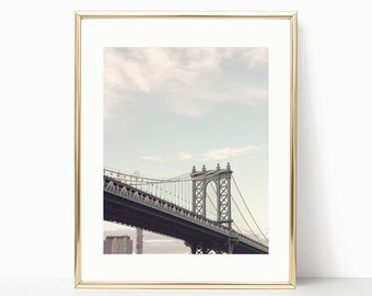 NYC print, extra large wall art, New York print, framed wall art, gifts for men, Manhattan bridge, canvas wall art New York photography