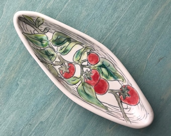 Spoonrest   Butter dish   Cherry Tomato   tapas plate   handmade porcelain tray   small serving tray   botanical tray   Tomato