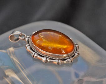 Antique Silver and Baltic Amber Bamboo Pendant