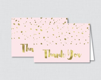Printable Pink and Gold Thank You Card - Printable Instant Download - Pink and Gold Baby Shower Thank You Card, Faux Gold Foil - 0022-P