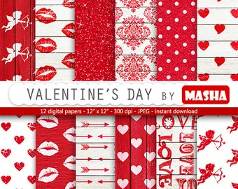 "Love digital paper: ""Valentine's day"" with heart pattern, cupid, red backgrounds, romantic, love, kisses, arrows perfect for valentine's day"