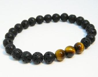 Black bracelet for mens Black lava bracelet Lava Rock bracelet for Men bracelet Lava jewelry mens beaded bracelet stretch bracelet for him