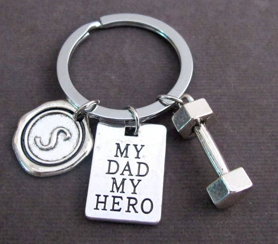 My dad my hero Personalized Dad Keychain,Father's Day Gift,Grandpa gift,Gift for Daddy,Keyring for Grandad,Gift from Kids,Free Shipping USA