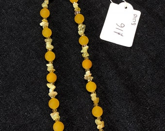 Honey Yellow Jade and Agate Necklace