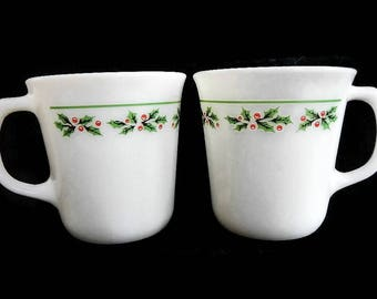 Vintage Pair of Corning Christmas Holly Coffee Mugs - white milk glass, red, green, 1970s - tea,cups,set of 2,microwave safe,retro,drinkware
